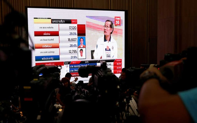 Reporters wait for the general election results in Bangkok, Thailand, Mar 24, 2019. REUTERS/Soe Zeya Tun