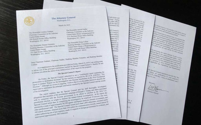 US Attorney General William Barr's four page letter to US congressional leaders on the conclusions of Special Counsel Robert Mueller's report on Russian meddling in the 2016 election is seen after being released by the House Judiciary Committee in Washington, US March 24, 2019. Reuters