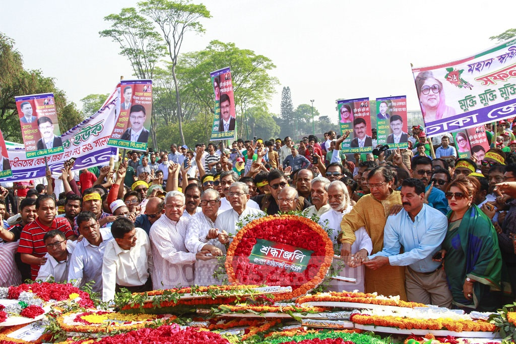BNP Mirza Fakhrul Islam Alamgir and party activists pay their respects at the National Martyrs' Monument on Independence Day. Photo: Asif Mahmud Ove