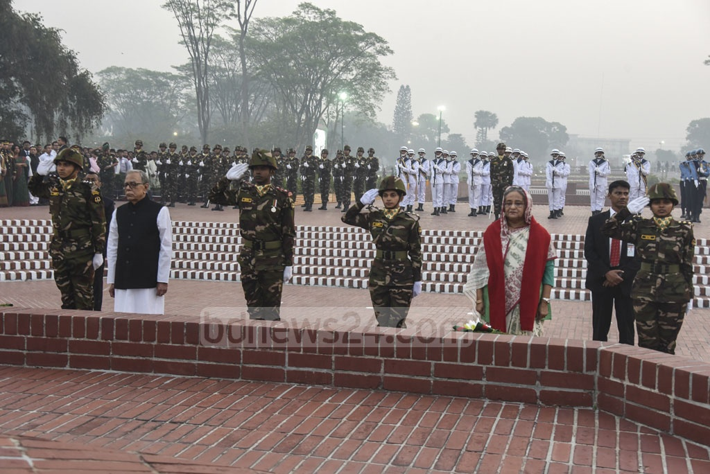 President Md Abdul Hamid and Prime Minister Sheikh Hasina lay wreaths as a mark of tribute at the National Martyrs' Memorial in Savar on Independence Day.