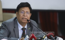 Foreign Minister AK Abdul Momen speaks at a press conference on Bangladesh missions abroad getting television channels through internet services at the Ministry of Foreign Affairs on Wednesday. Photo: Abdullah Al Momin