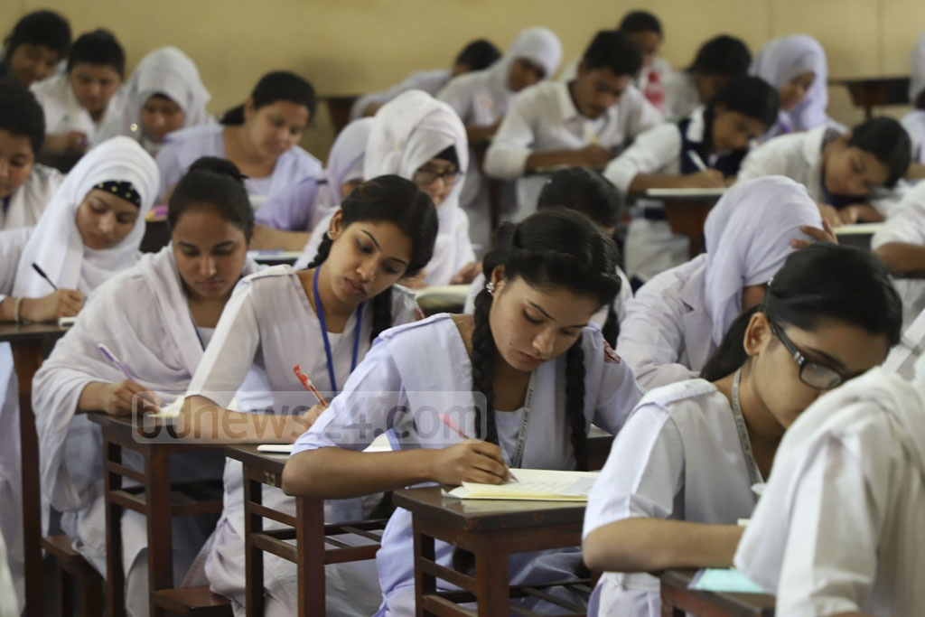 Students take HSC exams at the Notre Dame College centre on Monday, the first day of the exams. Photo: Abdullah Al Momin