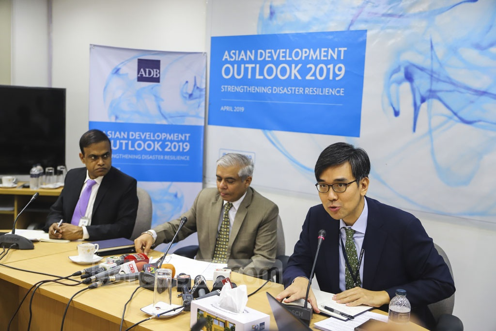 Asian Development Bank's senior economist Soon Chan Hong speaks at a media conference marking the launch of the bank's flagship publication, 'Asian Development Outlook 2019' in its Dhaka office. Photo: Asif Mahmud Ove