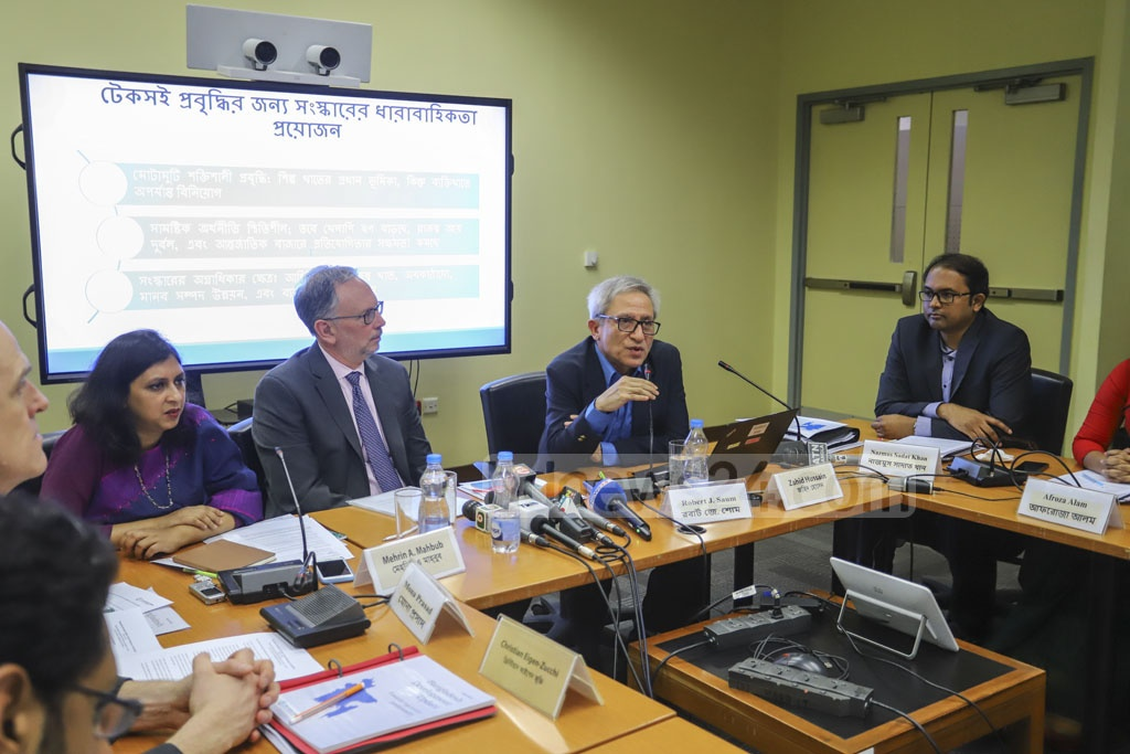World Bank Dhaka office's Lead Economist Zahid Hussain speaking at the launch of spring 2019 edition of the Bangladesh Development Update: Towards Regulatory Predictability on Thursday. Photo: Asif Mahmud Ove