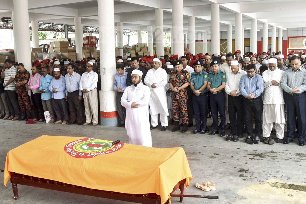 A Namaz-e-Janaza of fireman Sohel Rana, who died from injuries he suffered during rescue operation at FR Tower in Banani on Mar 28, at the Fire Service and Civil Defence Headquarters in Dhaka on Tuesday.