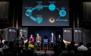 Dan Marrone speaks during unveiling the first image of a black hole at a press conference in Washington, US, April 10, 2019. Reuters