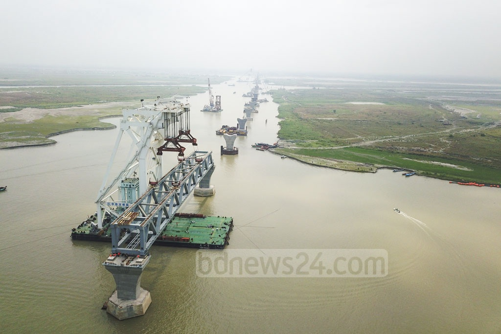 A view of the Padma Bridge from Mawa end during installation of its 10th span on Wednesday. Photo: Abdullah Al Momin