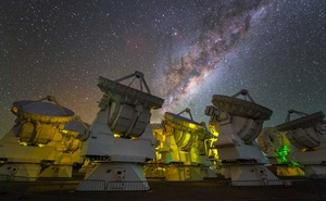 An undated photo provided by Beletsky (LCO)/ESO shows the Atacama Large Millimeter Array in Atacama, Chile, one of several telescopes across the globe that make up the Event Horizon Telescope, below the southern sky. (Beletsky (LCO)/ESO via The New York Times)