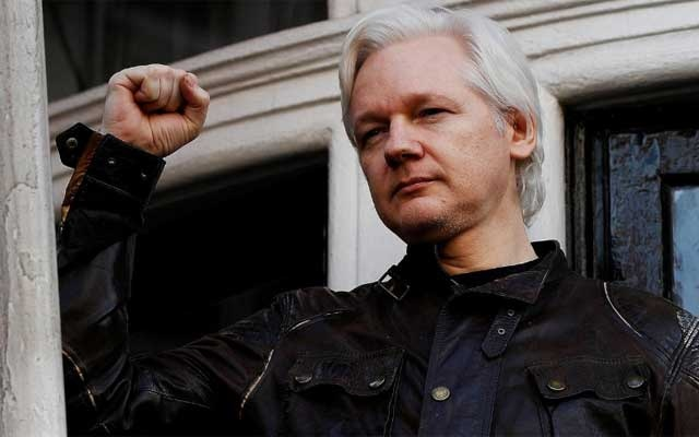 File Photo: WikiLeaks founder Julian Assange is seen on the balcony of the Ecuadorian Embassy in London, Britain, May 19, 2017. REUTERS