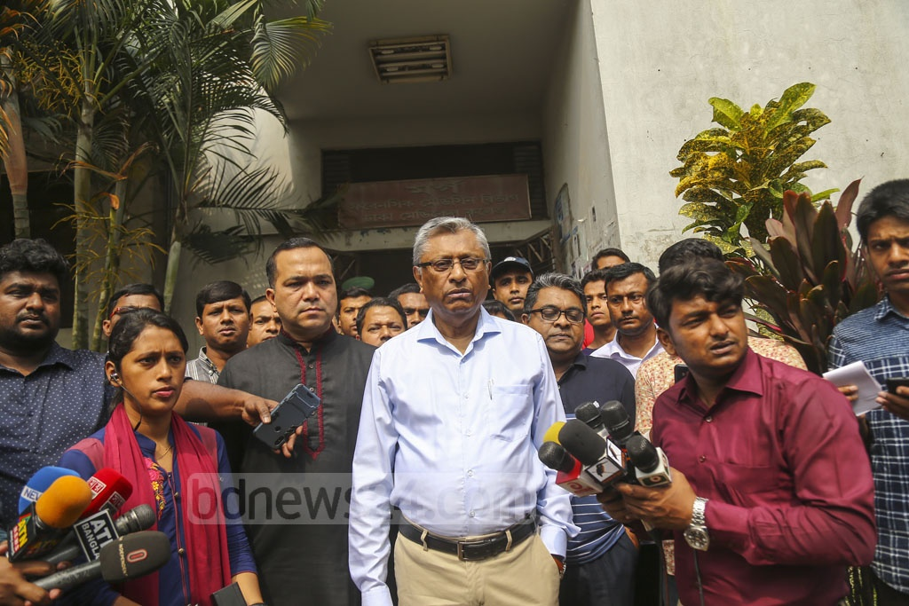 National Human Rights Commission Chairman Kazi Reazul Hoque speaking to the media about the death of Feni madrasa student Nusrat Jahan Rafi at the Dhaka Medical College Hospital on Thursday. Photo: Mahmud Zaman Ovi