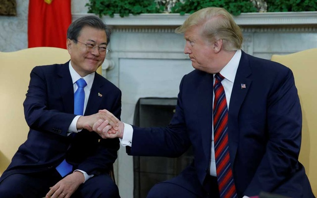 US President Trump welcomes South Korea's President Moon to the White House in Washington. REUTERS