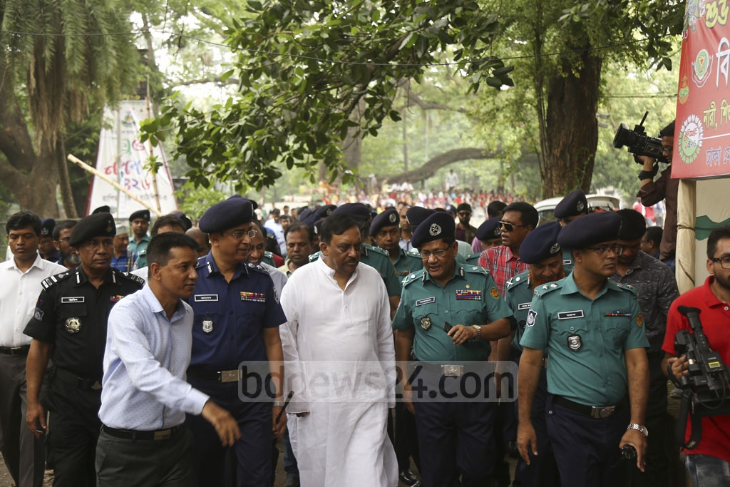 Home Minister Asaduzzaman Khan inspects security measures at Ramna on Saturday on the eve of Pahela Baishakh celebrations. Photo: Mahmud Zaman Ovi