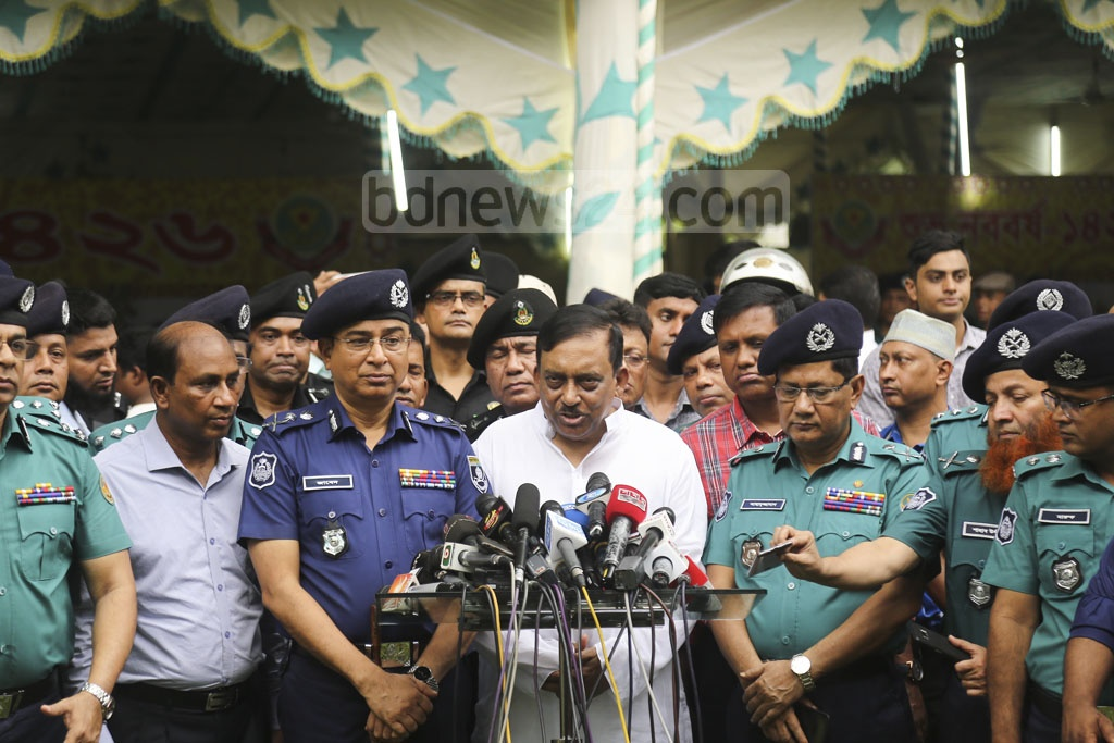 Home Minister Asaduzzaman Khan briefs the media at Ramna on Saturday over the security measures taken for Pahela Baishakh celebrations. Photo: Mahmud Zaman Ovi