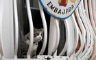 Julian Assange's cat sits on the balcony of Ecuador's embassy in London, Britain, Jul 30, 2018. REUTERS
