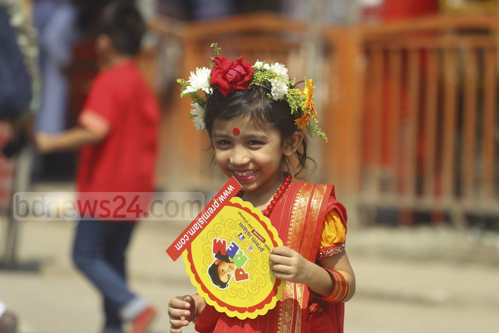 A child revels in the Pahela Baishakh festivities.