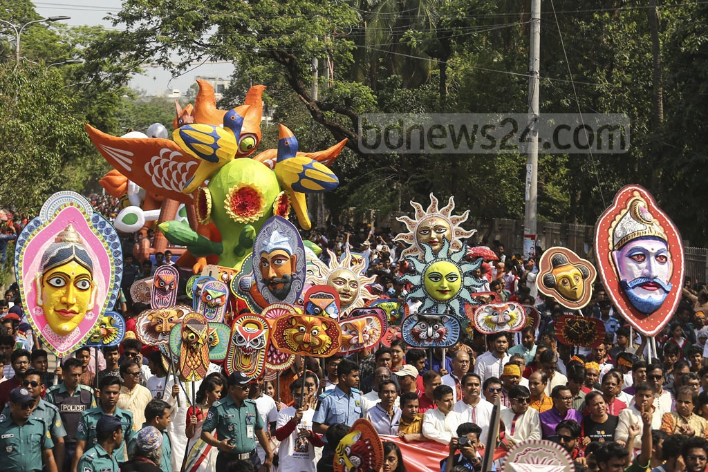 The Fine Arts Department, commonly known as Charukala, carries out the Mangal Shobhajatra, a festive procession, with the aim of facing the open skies on the first morning of Baishakh on Sunday.