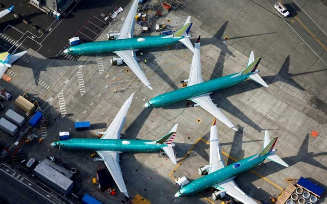 An aerial photo shows Boeing 737 MAX airplanes parked on the tarmac at the Boeing Factory in Renton, Washington, US, Mar 21, 2019. REUTERS