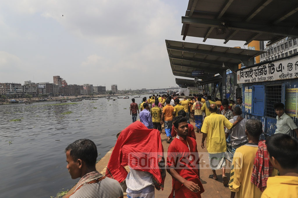 Water transport workers gathered at the Sadarghat terminal during their strike on Tuesday. Photo: Abdullah Al Momin
