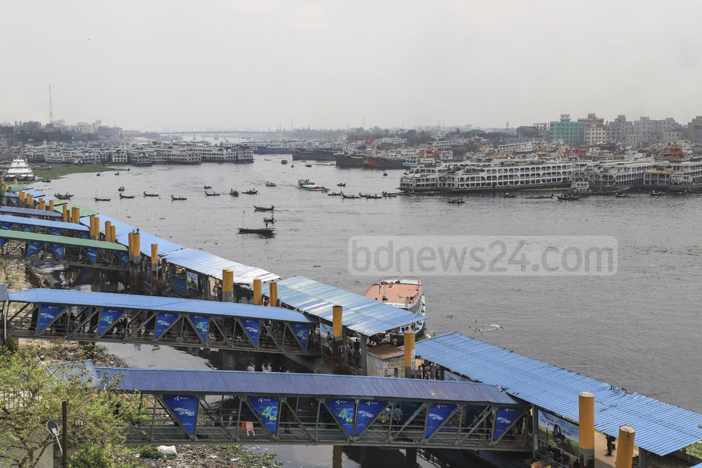Sadarghat launch terminal looked empty on Tuesday due to the indefinite strike called by the water transport workers. Photo: Abdullah Al Momin
