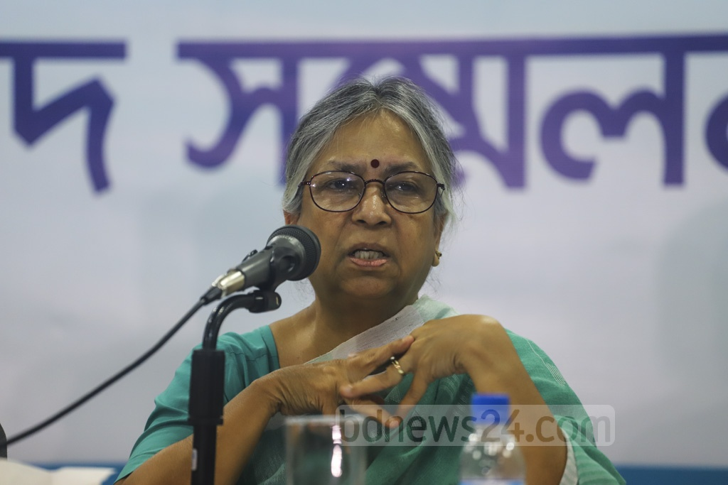 TIB Trustee Board Chairperson Sultana Kamal speaks during the launch of a study titled 'Dhaka Wasa: Challenges for Good Governance and Way Forward' at Midas Centre in Dhaka on Wednesday. Photo: Asif Mahmud Ove