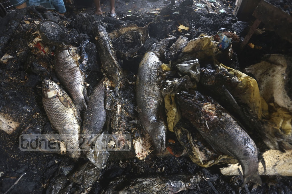 Fish were burnt in a fire at the Malibagh Kitchen Market in Dhaka early on Thursday morning . Photo: Mahmud Zaman Ovi