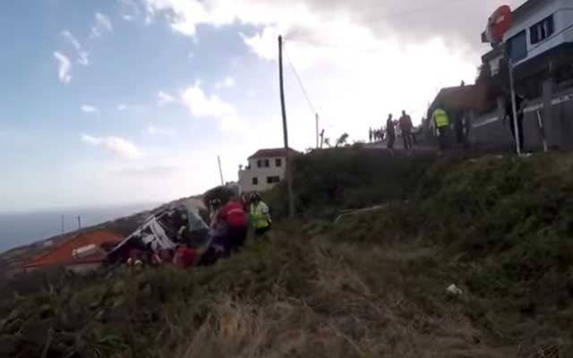 A site of a bus accident is seen in Canico, in the Portuguese Island of Madeira, Apr 17, 2019 in this still image taken from social media video. REUTERS
