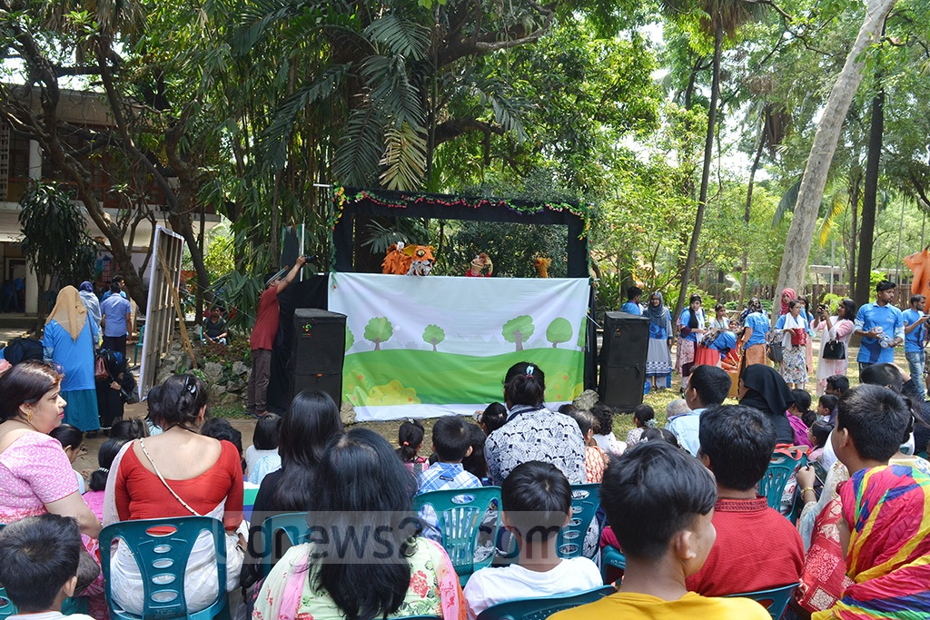 A puppet show was arranged for the autistic children at the Dhaka University's Faculty of Fine Arts on Friday.