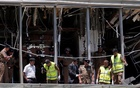 Crime scene officials inspect the explosion area at Shangri-La hotel in Colombo, Sri Lanka April 21, 2019. Reuters