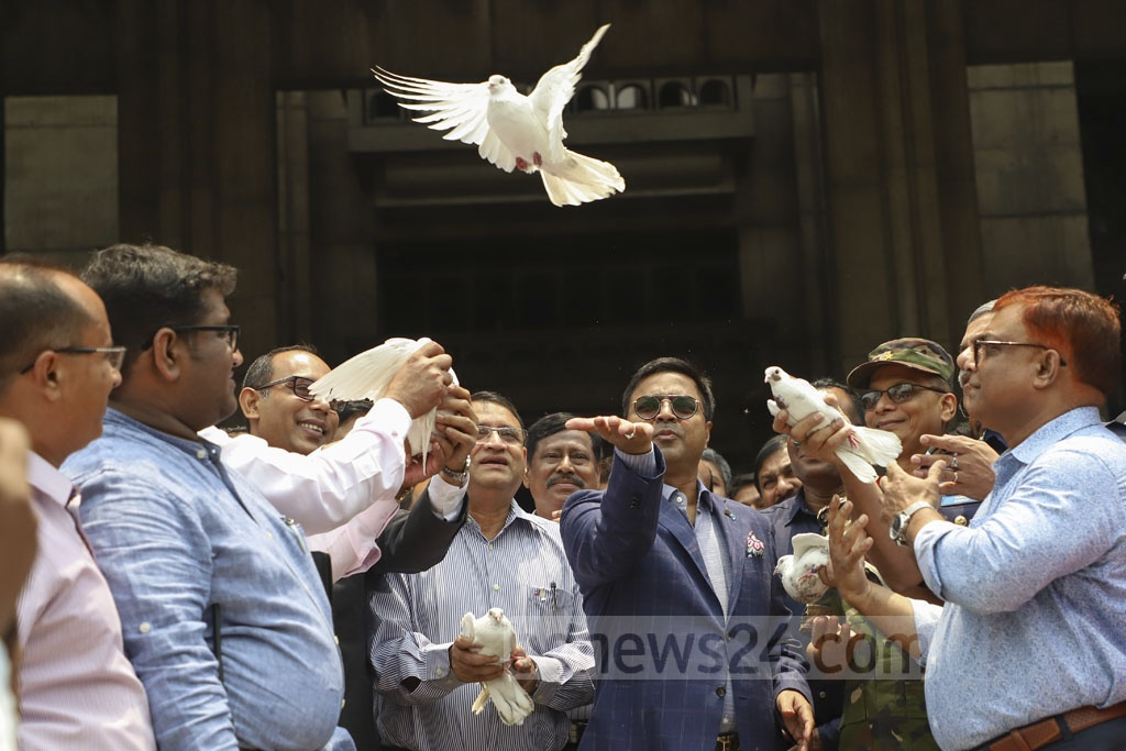Dhaka South City Mayor Mohammad Sayeed Khokon speaking at the inauguration of the 12-day Municipal Tax Fair 2019 at the Nagar Bhaban building in Dhaka on Wednesday. Photo: Abdullah Al Momin