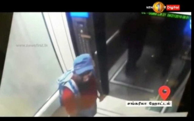 A man with a backpack is seen in Shangri La hotel elevator in Colombo, Sri Lanka, April 21, 2019 in this screen grab taken from a CCTV footage. SIRASA TV via REUTERS