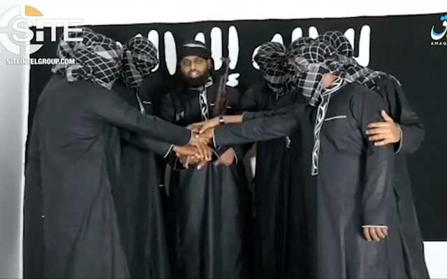 A group of men purported to be the the Sri Lanka bomb attackers is seen at an unknown location in this still image taken from video uploaded by the Islamic State's AMAQ news agency April 23, 2019 and received by Reuters via SITE Intel Group. REUTERS