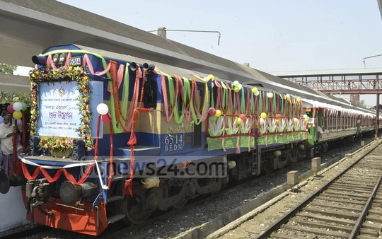 The non-stop inter-city train 'Banalata Express' adorned with colourful ribbons and garlands before its launch on the Dhaka-Rajshahi route on Thursday.