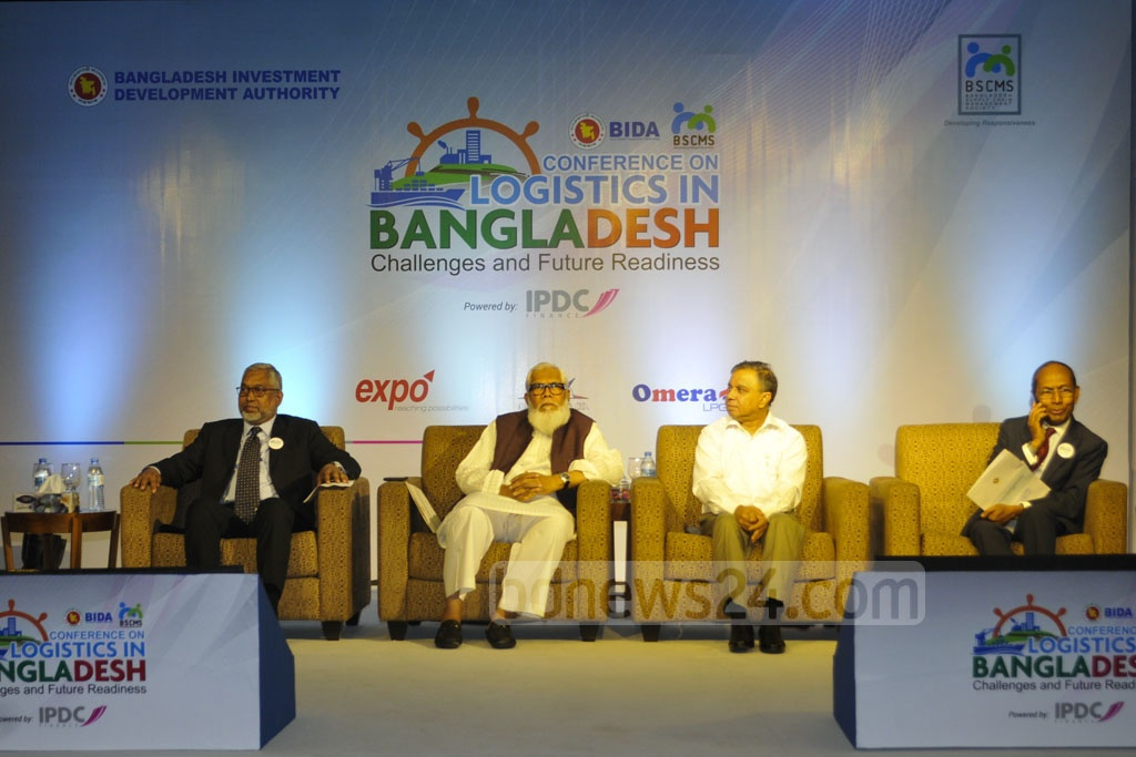 Speakers at the conference titled 'Logistics in Bangladesh: Challenges and Future Readiness' organised by BIDA sit on a stage at a Dhaka Hotel on Thursday. Photo: Asif Mahmud Ove