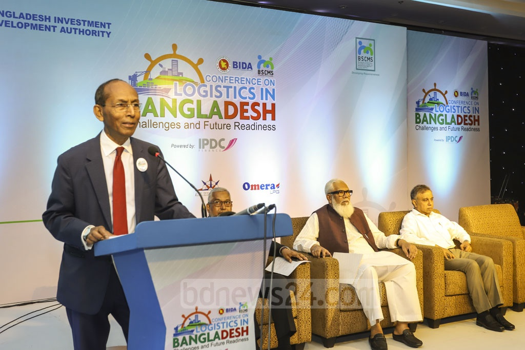 BIDA Executive Chairman Kazi M Aminul Islam speaks at a conference titled 'Logistics in Bangladesh: Challenges and Future Readiness' organised by the investment agency at a Dhaka hotel on Thursday. Photo: Asif Mahmud Ove