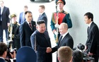 North Korean leader Kim Jong Un shakes hands with Russian President Vladimir Putin in Vladivostok. REUTERS