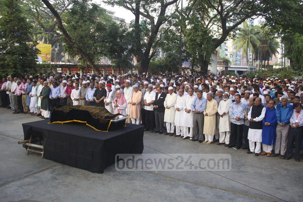 Journalist Mahfuz Ullah's Namaz-e-Janaza was held at the National Press Club in Dhaka on Sunday.