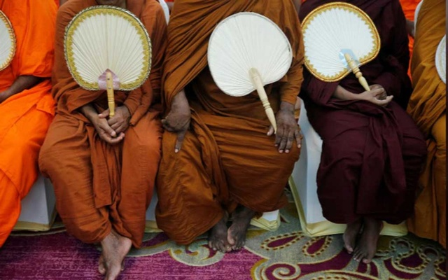 Monks take part in a Buddhist ceremony as a tribute to victims, a week after a string of suicide bomb attacks across the island on Easter Sunday, at Kingsbury Hotel in Colombo, Sri Lanka Apr 28, 2019. REUTERS
