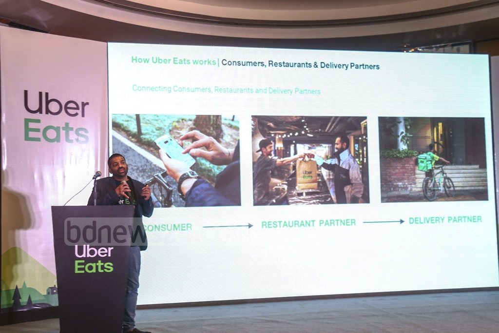 Ride sharing company Uber is set to start a food delivery service in Dhaka after launching the 'Uber Eats' app in a hotel in the capital on Sunday. Photo: Mahmud Zaman Ovi