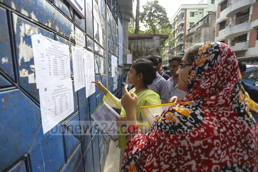 Participants checking their seat distributions at a centre of the 40th BCS preliminary test at the Rupnagar Model School and College in Dhaka. Photo: Asif Mahmud Ove