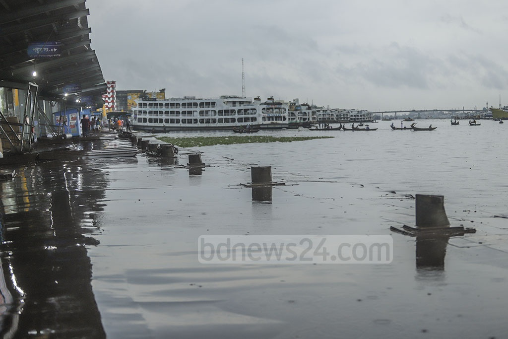 The launch terminal in Dhaka's Sadarghat was empty on Friday as inland river transport operations have been suspended due to cyclonic storm Fani.