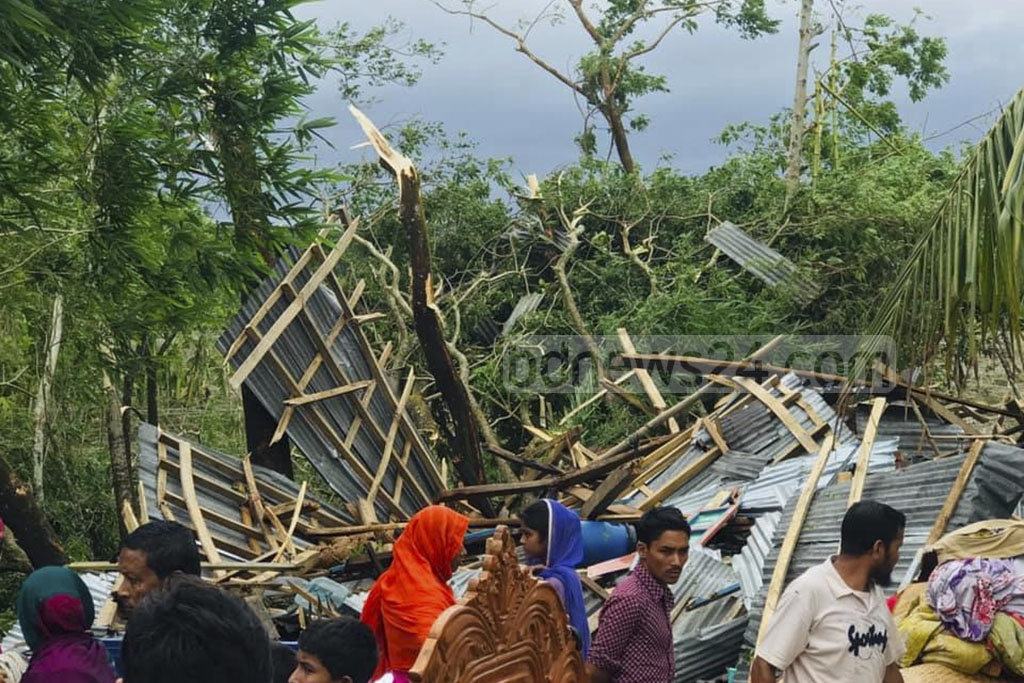 A woman died and more than 200 homes were destroyed in Bhola after Cyclone Fani lashed the coastal district of Bangladesh.
