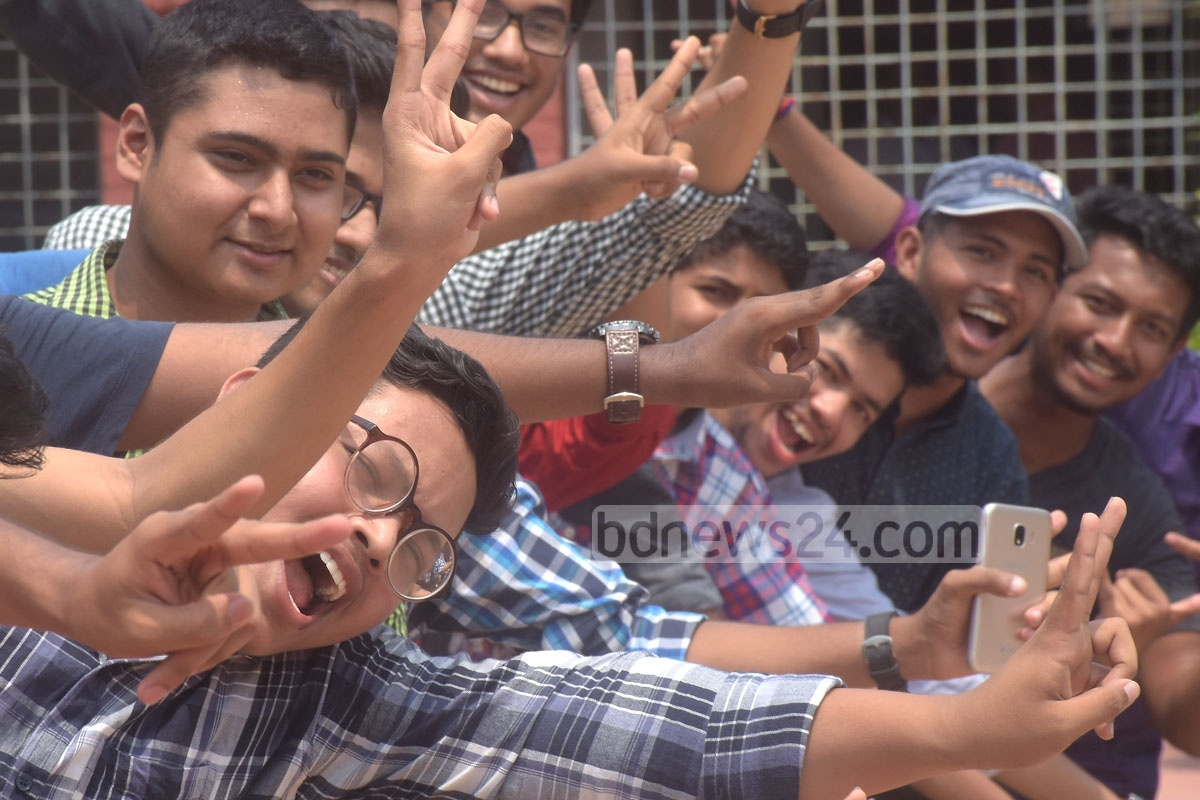 Chittagong Government Collegiate School students overjoyed with their SSC results. Photo: Suman Babu