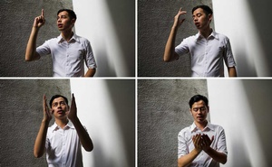FILE -- A combo image shows Surya Sahetapy, who is deaf, translating the Quran into sign language, in Jakarta, Indonesia, June 12, 2018. A group of Indonesians have begun a project to produce sign-language videos translating all 114 chapters, known as surahs, helping millions of deaf Muslims get access to their holiest book for the first time. (Ed Wray/The New York Times)