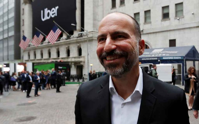 Uber Technologies Inc. CEO Dara Khosrowshahi stands outside the New York Stock Exchange (NYSE) ahead of the company's IPO in New York, US, May 10, 2019. Reuters