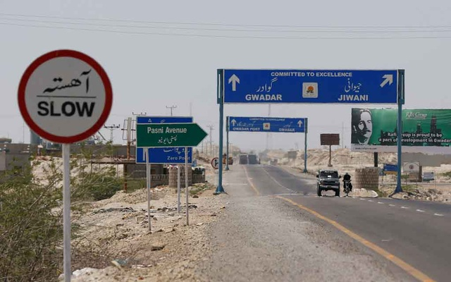 A general view of signs along a highway leading to Gwadar, Pakistan April 12, 2017. Reuters