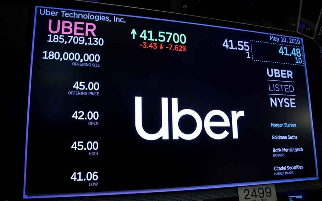 A screen displays the company logo and the trading information for Uber Technologies Inc. after the closing bell on the day of its IPO at the New York Stock Exchange (NYSE) in New York, US, May 10, 2019. Reuters