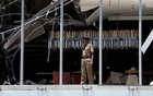 A police officer inspects the explosion area at Shangri-La hotel in Colombo, Sri Lanka Apr 21, 2019. REUTERS