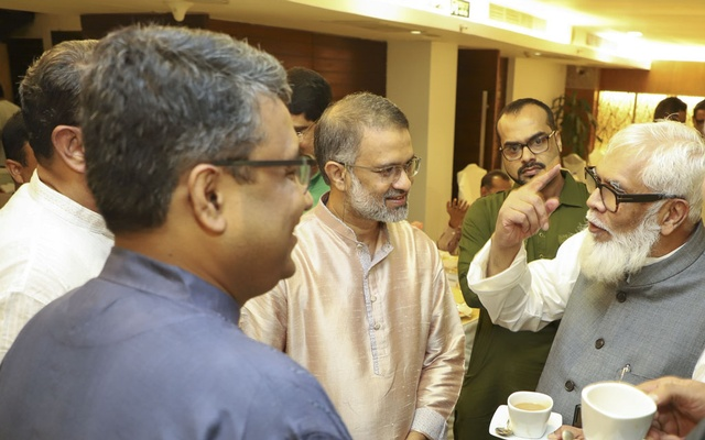 The Prime Minister's Adviser for Private Industry and Investment Salman F Rahman speaking with the members of Editors Guild, Bangladesh in its first public function in Dhaka on Wednesday.
