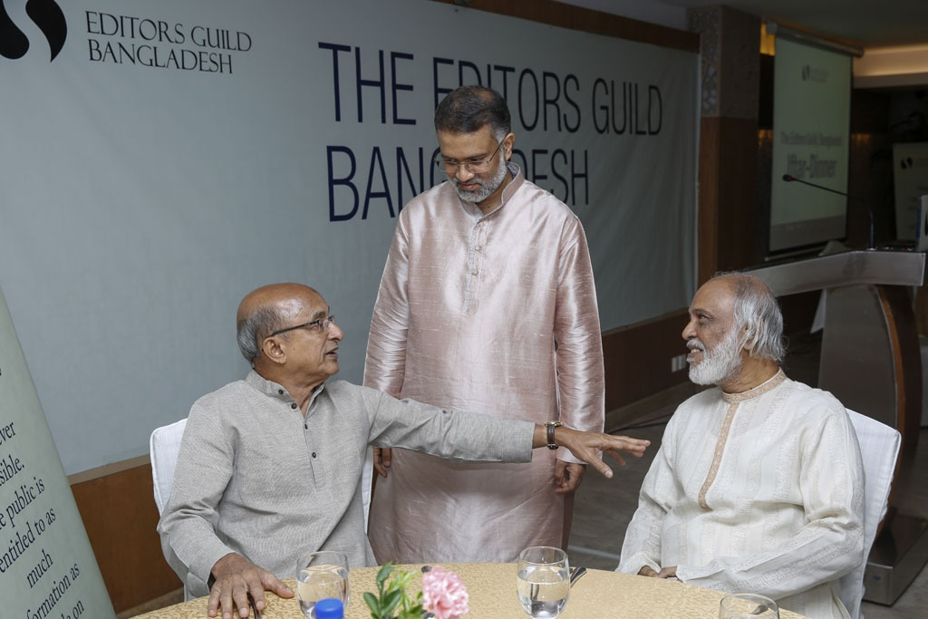 The Prime Minister's Power, Energy and Mineral Resources Adviser Tawfiq-e-Elahi Chowdhury and BNP Standing Committee Member Abdul Moyeen Khan in the first public function of the Editors Guild, Bangladesh in Dhaka on Wednesday.