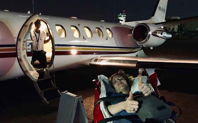 Leya Russell was taken to hospital in Bangkok in the plane pictured here after her back was broken when a Bombardier Dash-8 Q400 had a rough landing in Myanmar on May 8.  Photo via CBC News website.